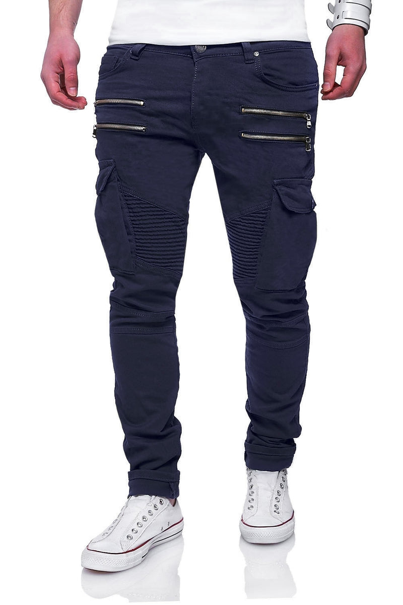 Zipper Biker Jeans Navy 3196