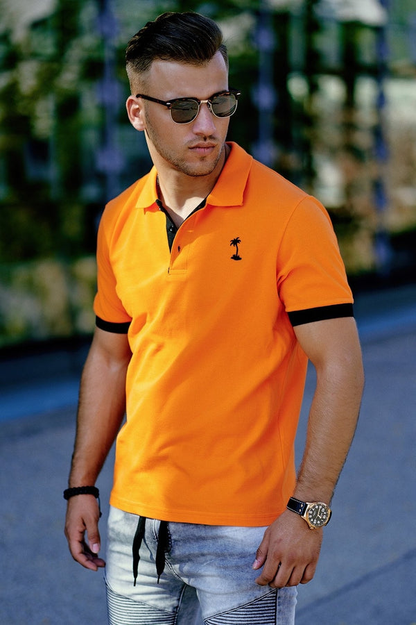 Poloshirt Kontrast Orange 337