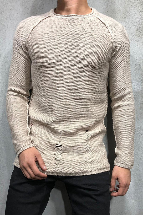 Destroyed Pullover Beige 7026