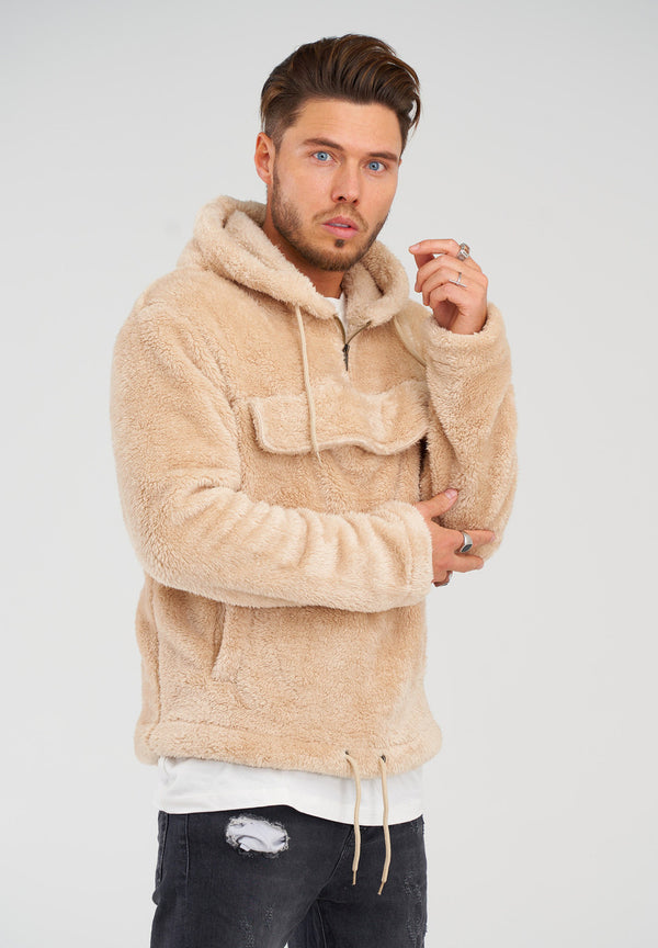 Teddy Fleece 1/4 Zip-Hoodie MT-7453 Beige