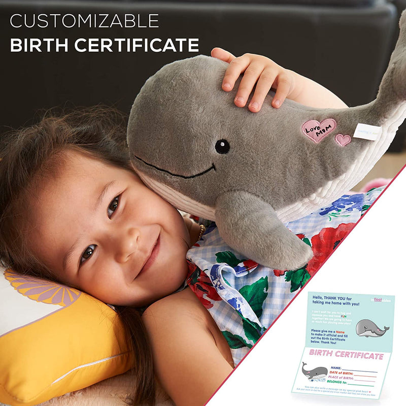 Whale Stuffed Animal - Cute Grey Large Whales Plush Animals Toy