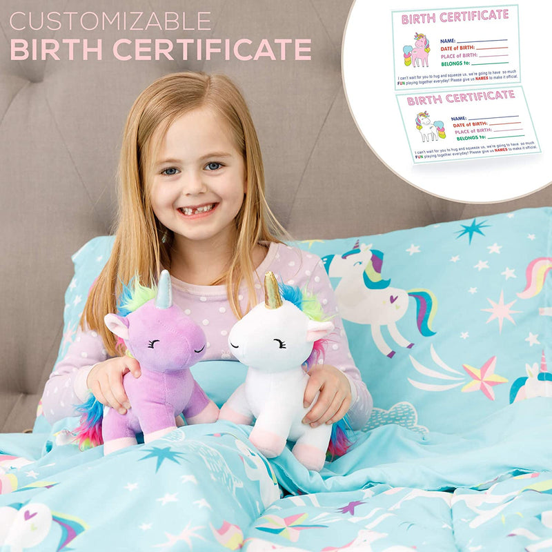 Unicorn Stuffed Animal - 2 New Cute Baby Unicorns Plush Animals Toys