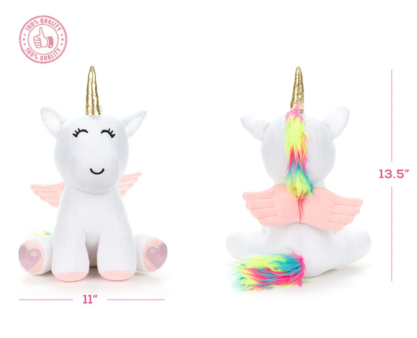 Adorable Rainbow Stuffed Unicorn with Wings