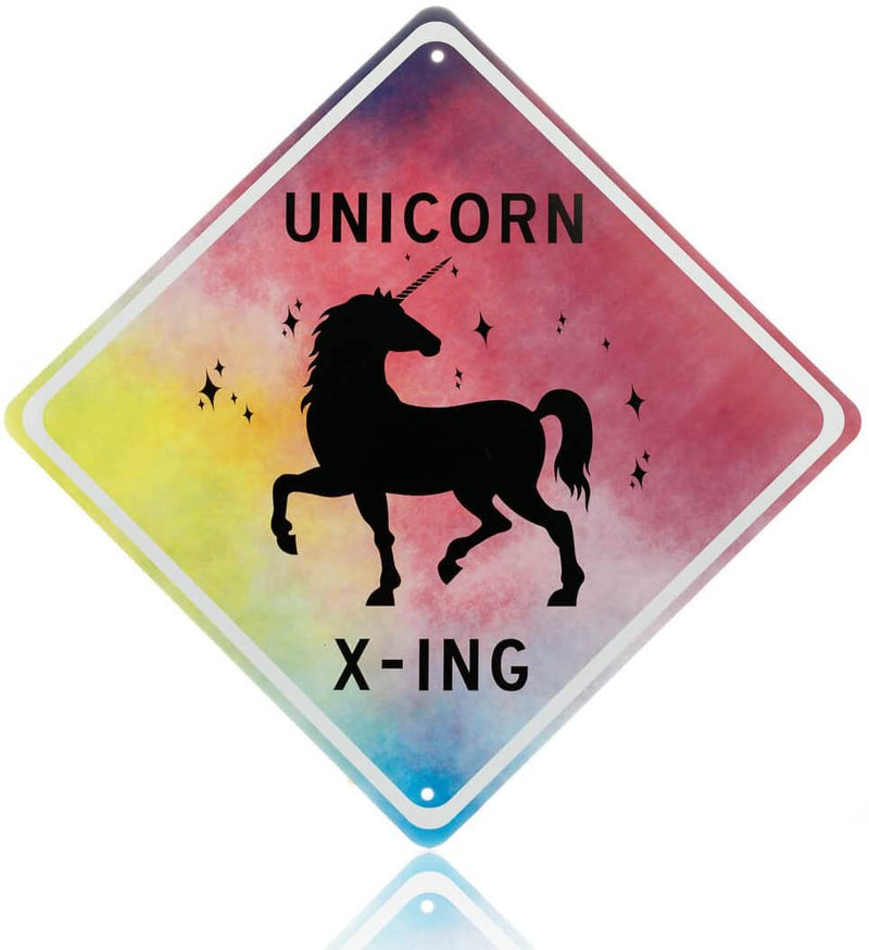 Unicorn Room Decor - unicorn crossing sign, beautiful bedroom wall decoration for girls.