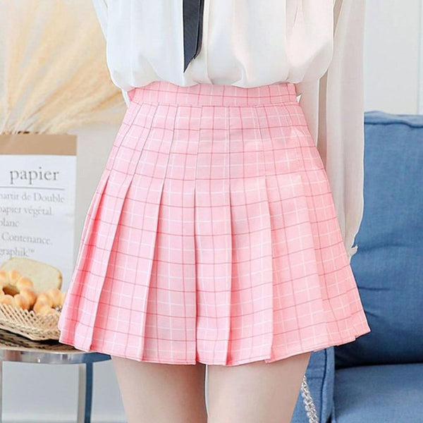 High Waist Plaid Skirts