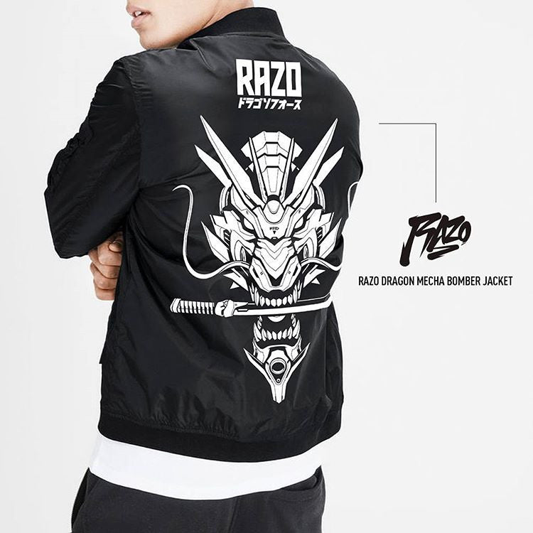 Dragon Mecha Lightweight Nylon Bomber Jacket