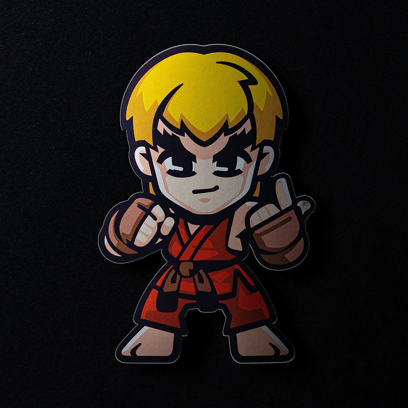 Ken Street Fighter Sticker in Matte Mirror Vinyl Finish