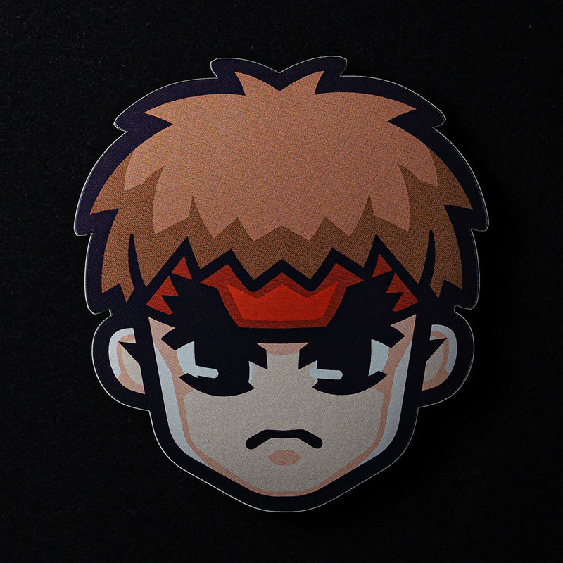 Ryu Face Street Fighter Sticker in Matte Mirror Vinyl Finish