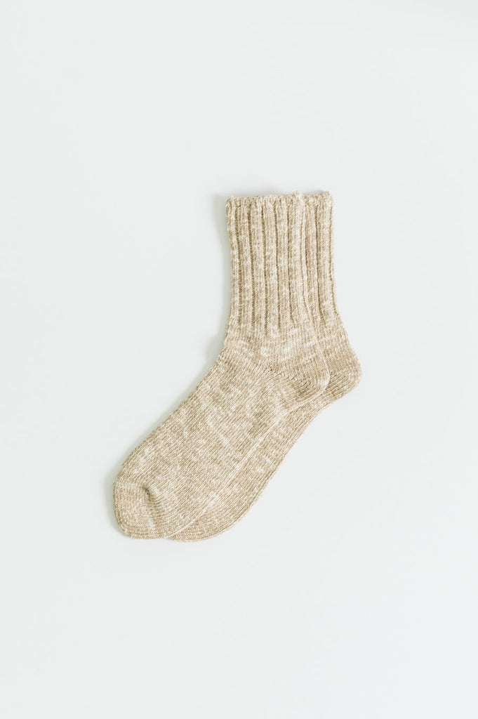Low Gauge Slub Socks Beige