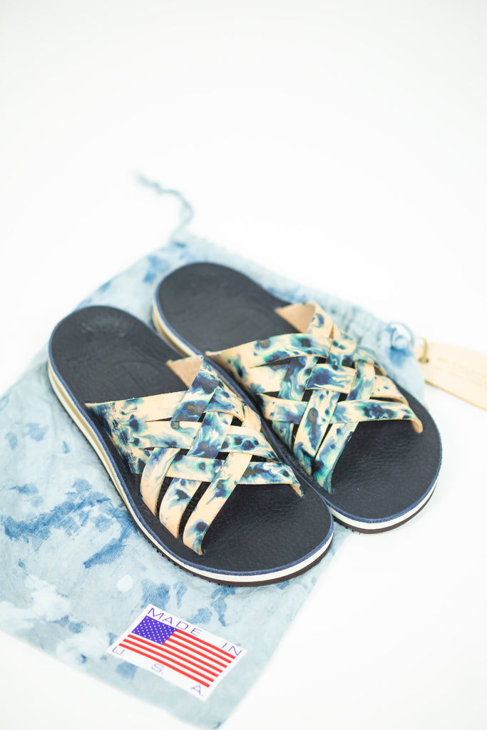 Vegetable Tan Leather Woven Sandal in Tie Dye