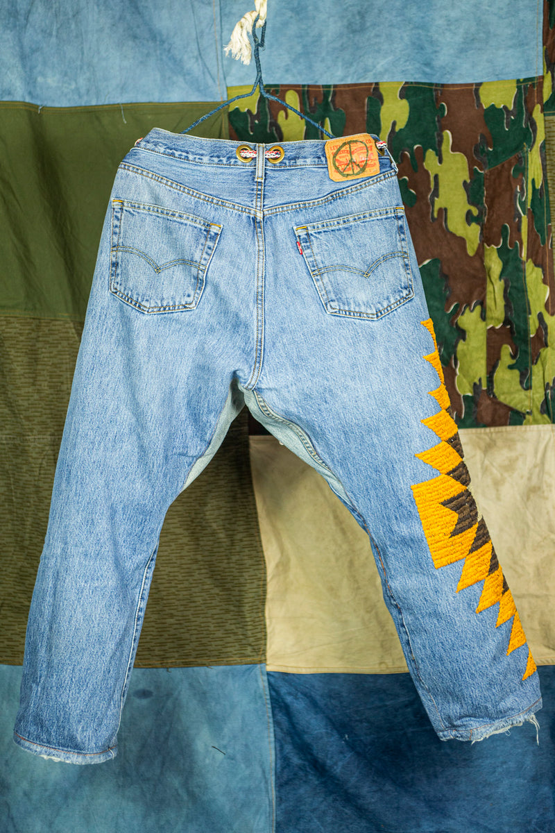 "Vintage Remake ""501"" Denim with ""Yellow Cloud"" Embroidery"