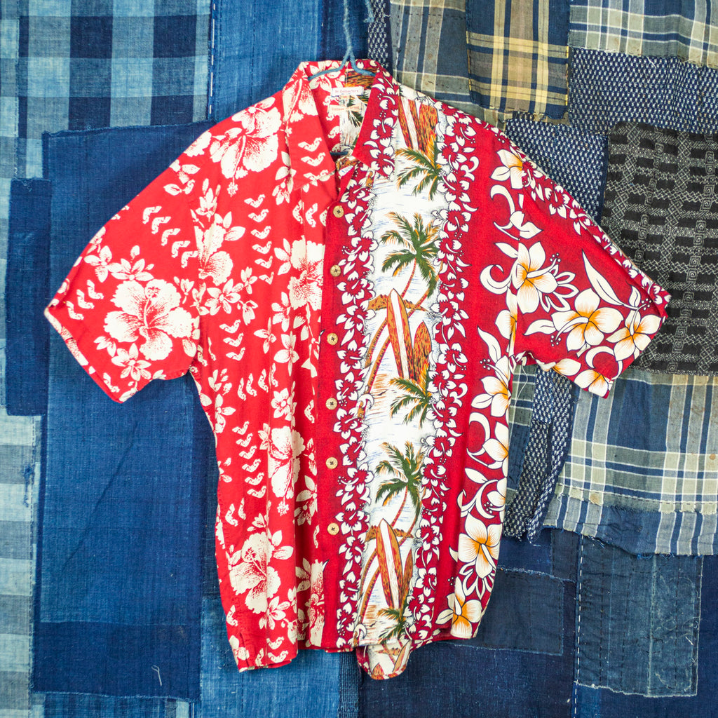 "Vintage Split Aloha Shirt ""Red Surfboard"""
