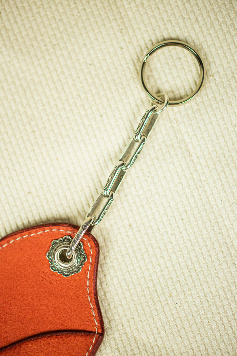 Mt. Hill Leather Keychain in Orange