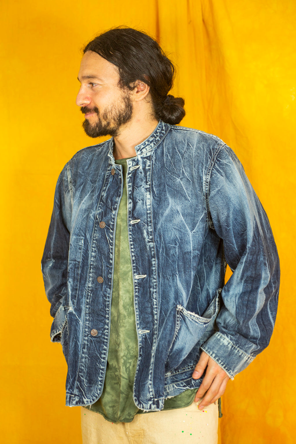 Kufo Jacket in Destroyed-Wash Denim