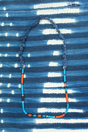 Vintage Snake Beads and Denim Necklace
