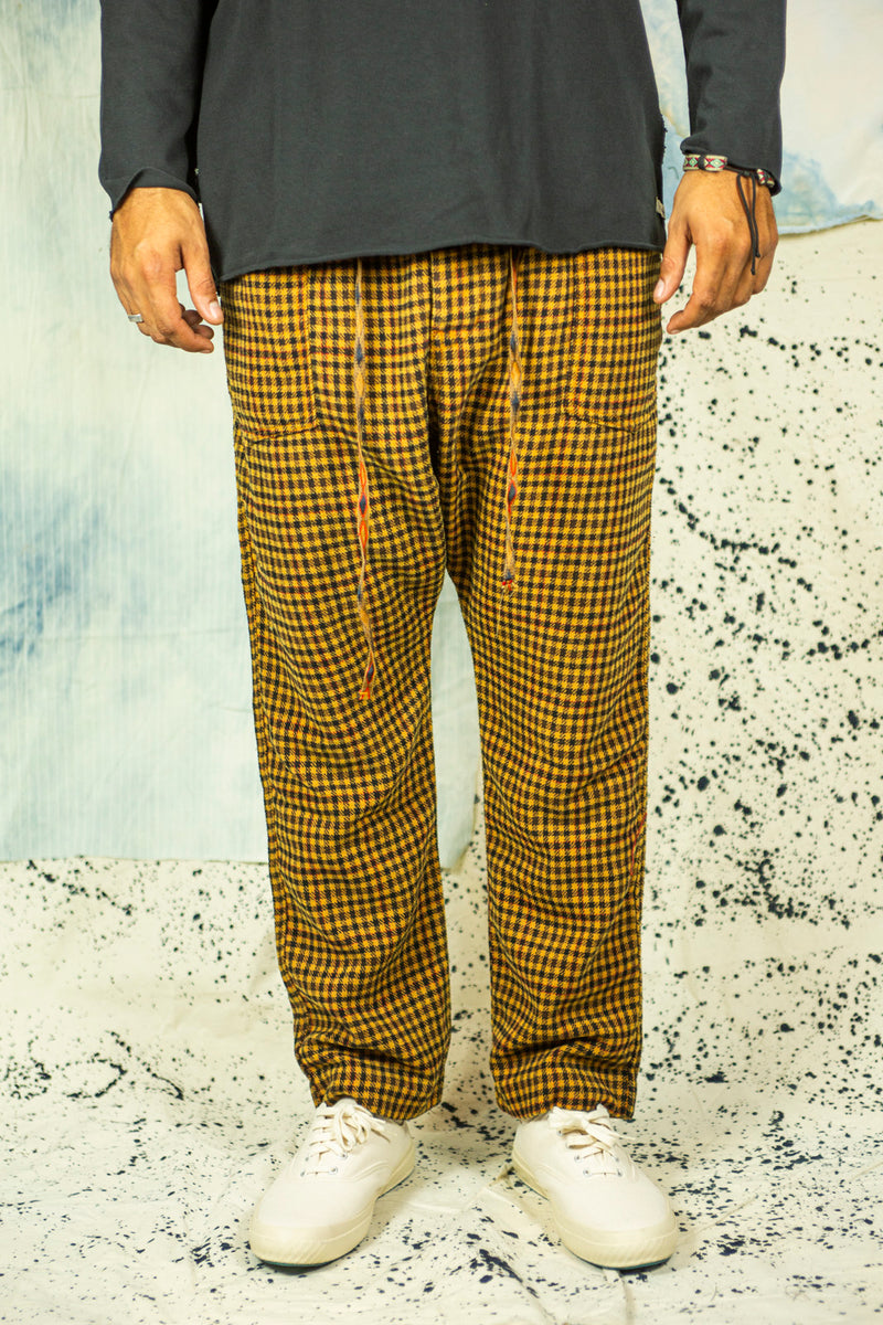 P23 Gingham Wool Pants in Burnt Orange