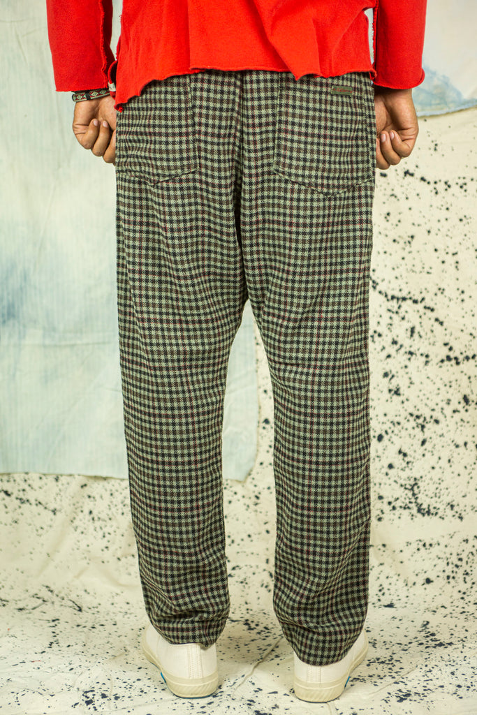 P23 Gingham Wool Pants in Army Green