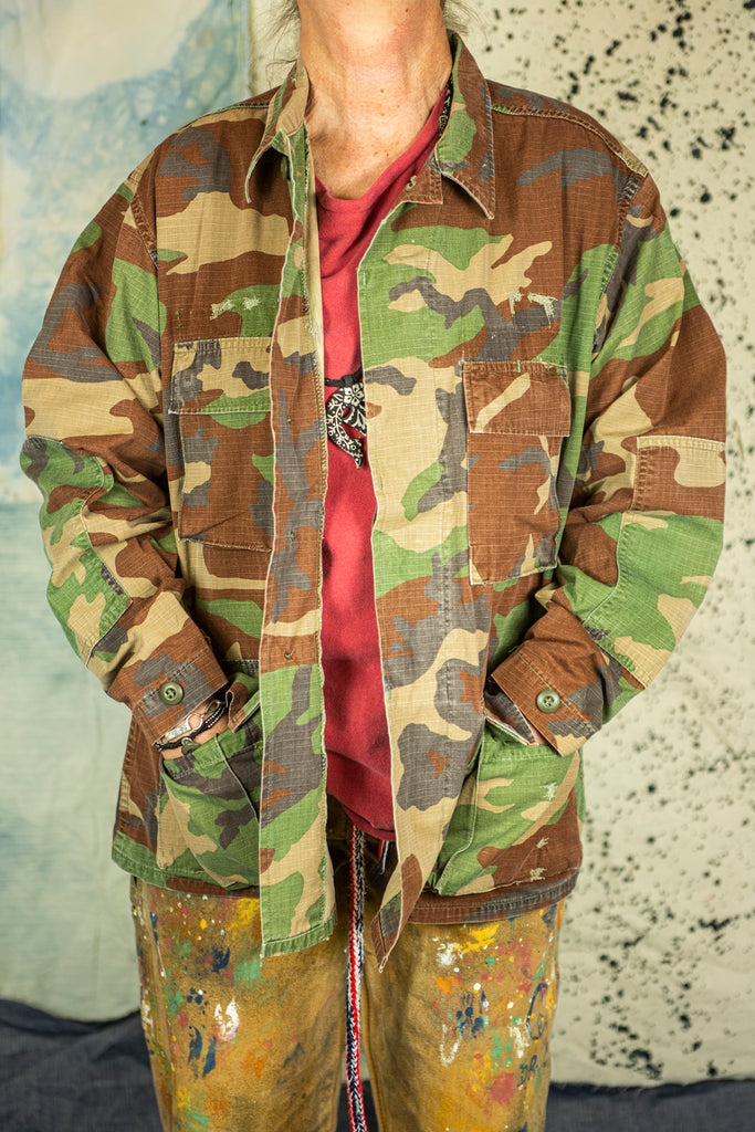 "USMC ""BDU"" Jacket in Woodland Camo with ""Yellow Cloud"" Embroidery"