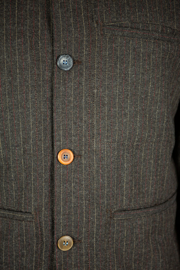 Paysan Jacket in Brown Pinstripe
