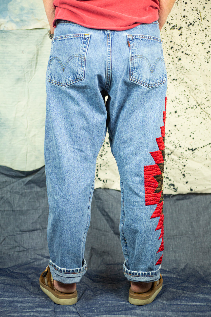 "Vintage Remake ""501"" Denim with ""Red Cloud"" Embroidery"
