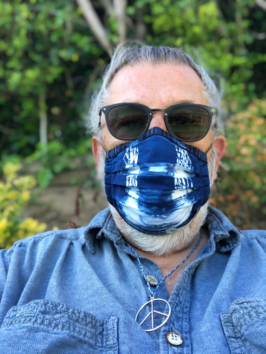 Shibori Face Mask in Indigo