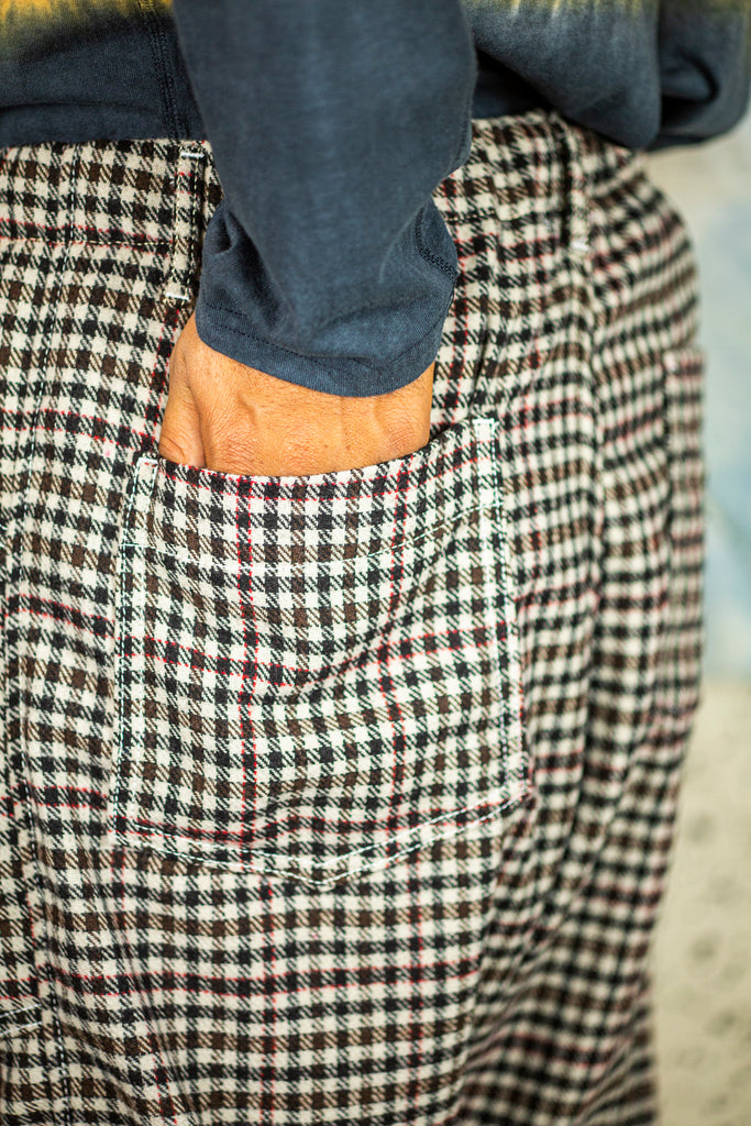 P23 Gingham Wool Pants in Stone