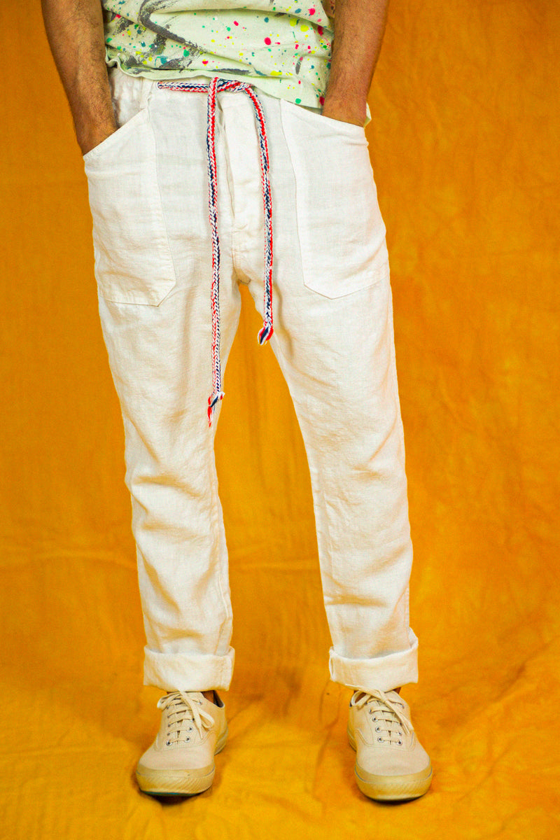P38 Linen Pants in White