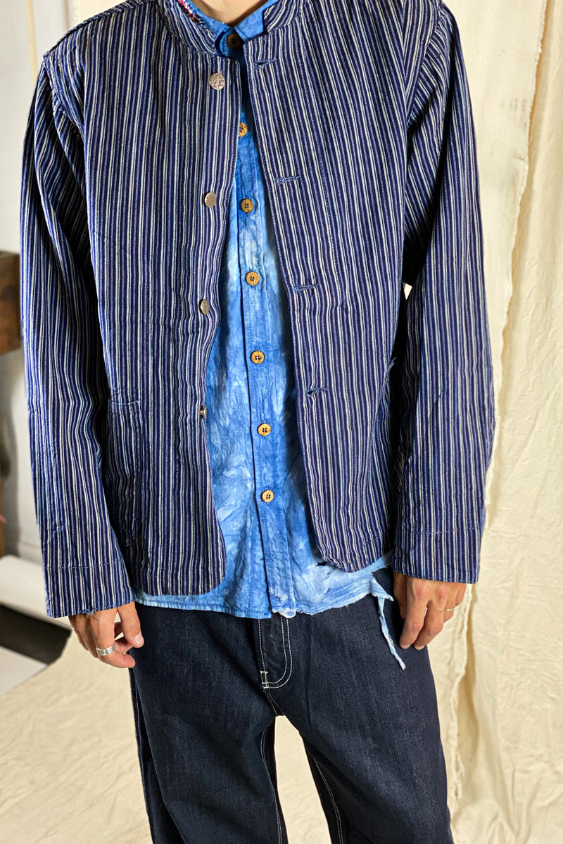 Kufo Jacket in Century Indigo Pinstripes