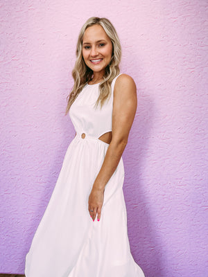 Blaine Dot Dress - white