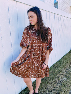 Archer Dot Dress - brown