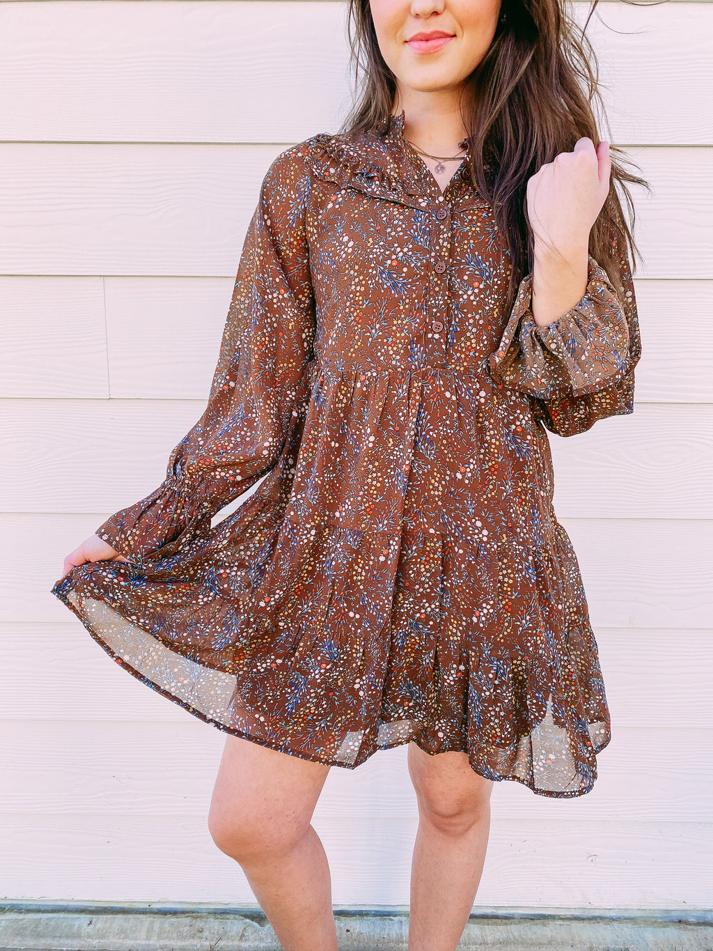 Surefire Floral Print Dress - brown