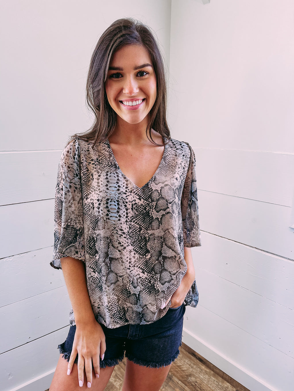 Call the Shots Snake Blouse