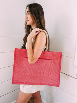 Jute Pocket Tote in Coral