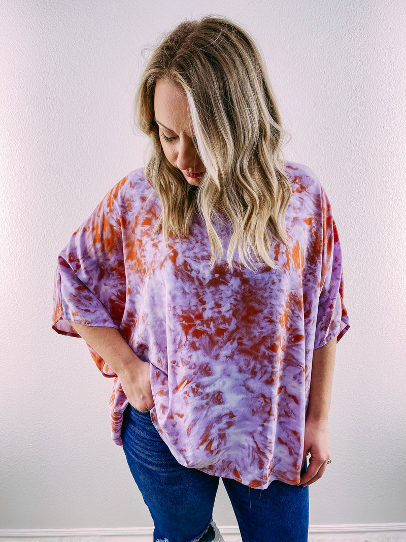 Racheal Oversized Blouse - purple/orange