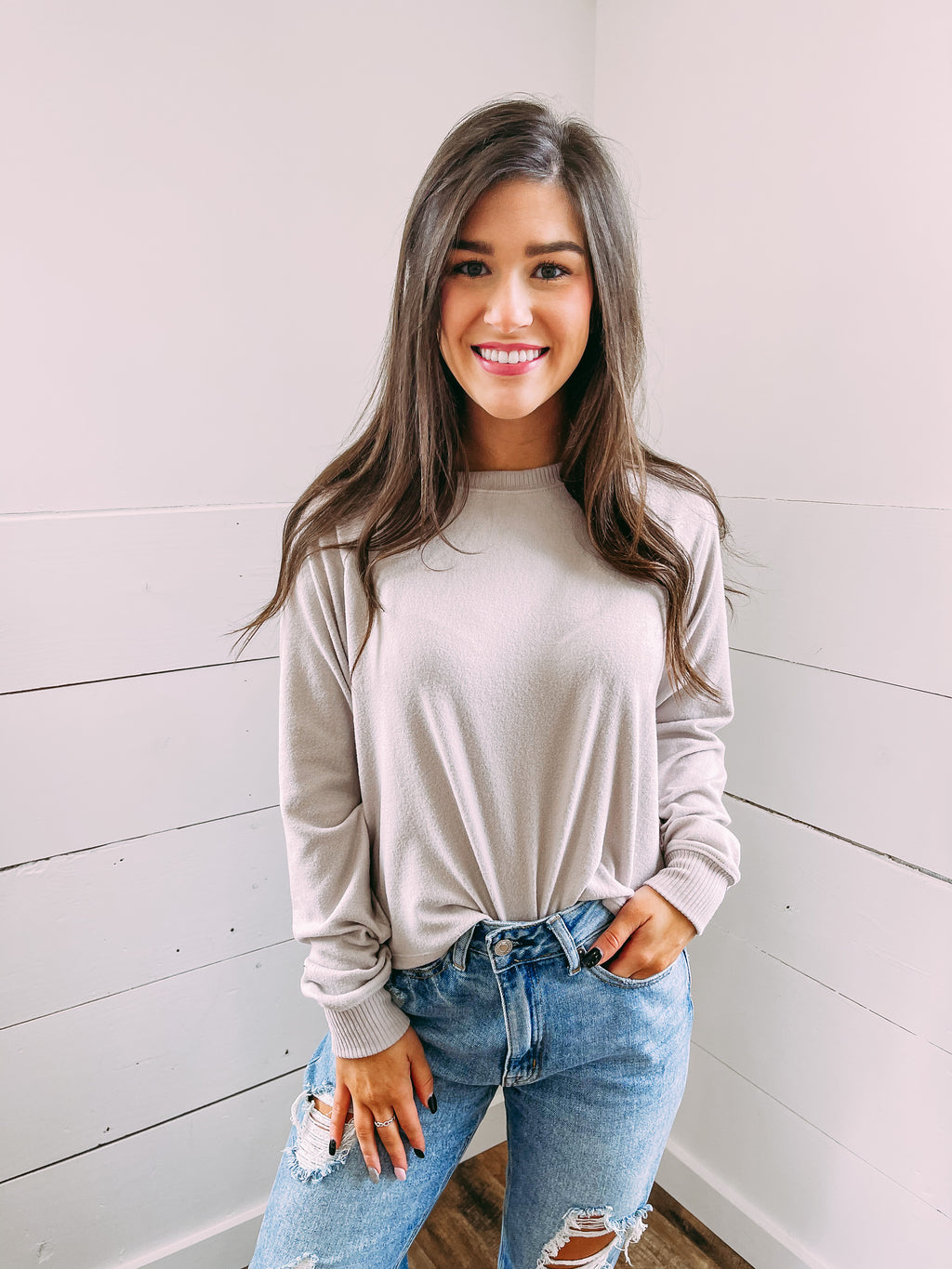Loving You Fleece Crop - grey taupe