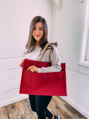 Jute Pocket Tote in Red