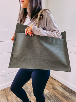 Jute Pocket Tote in Olive