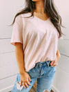Cutting Edge VNeck Tee - rose quartz