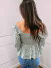 Left My Heart Smocked Top - sage