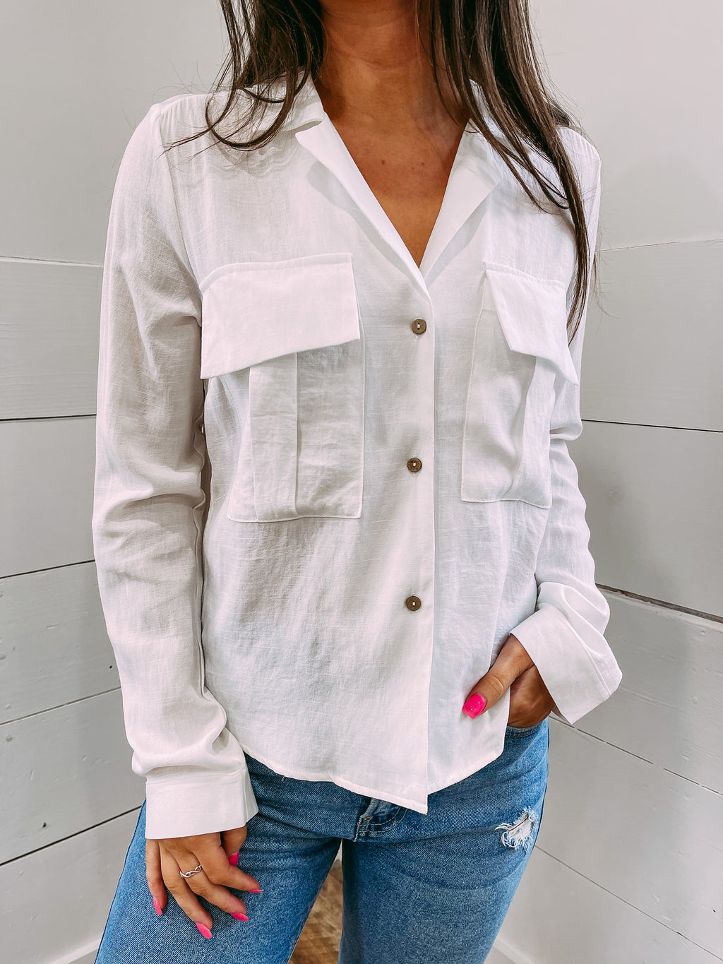 Alberta Button Down Blouse - white