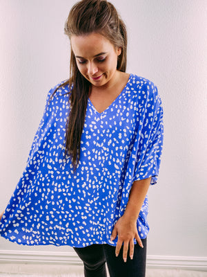 Racheal Oversized Blouse - blue dot