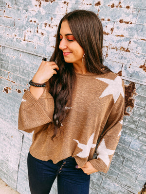 Madison Star Crop Sweater - mocha
