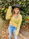 Millie Front Knot Sweater - yellow