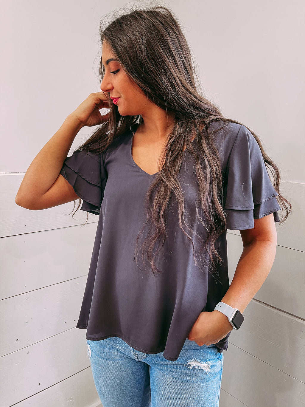 Away With Me Flare Top - grey