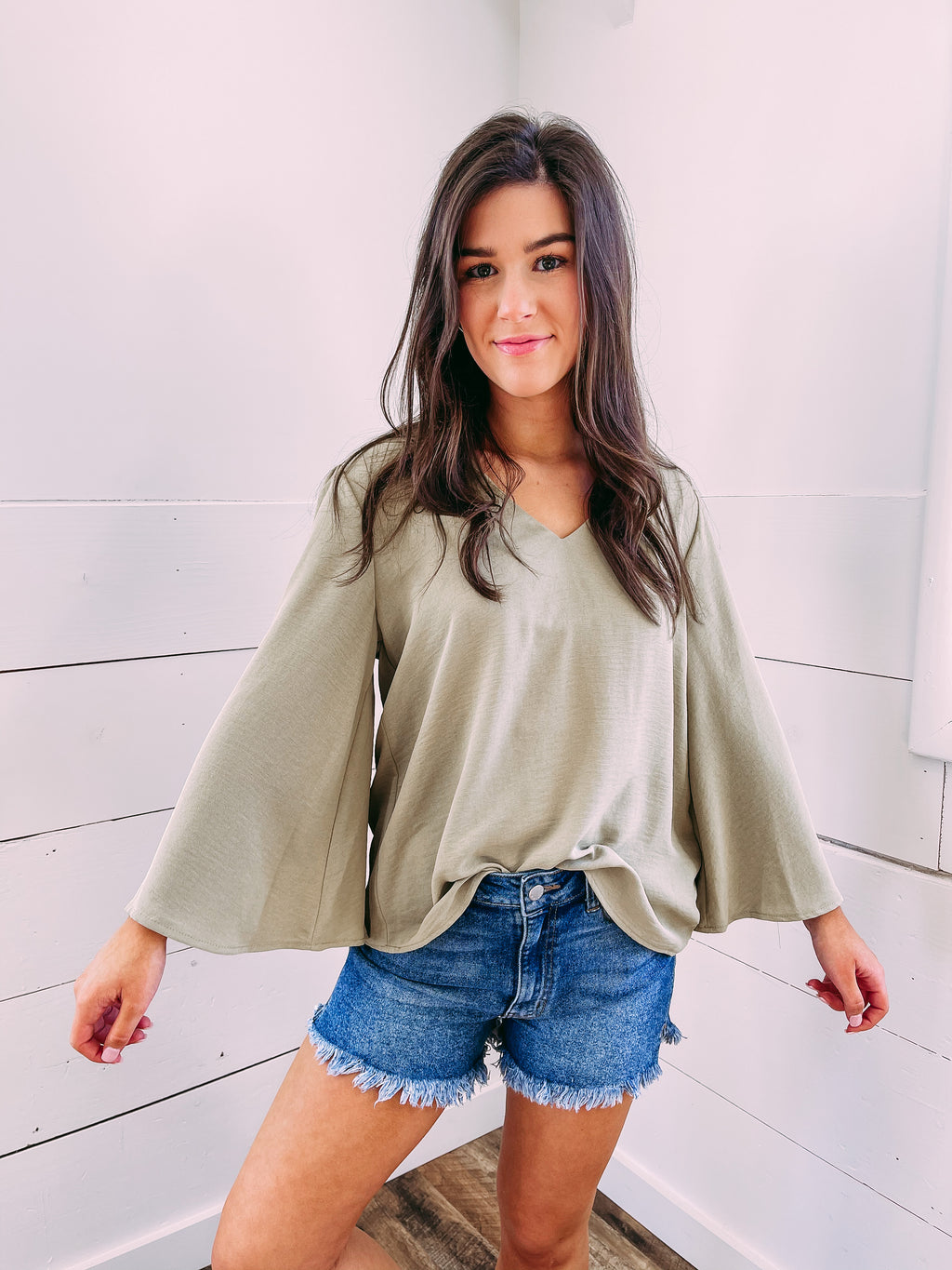 Norman Flare Sleeve Top - olive