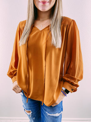Young Love Ruffle Blouse - camel