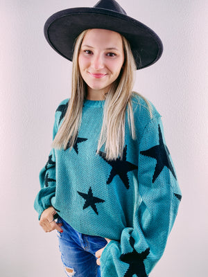 RESTOCK Off the Grid Star Sweater - teal