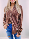 True Colors Velvet Button Up - almond