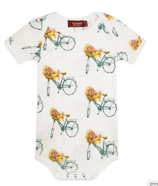 Milkbarn: Short Sleeve Onesie - floral bicycle