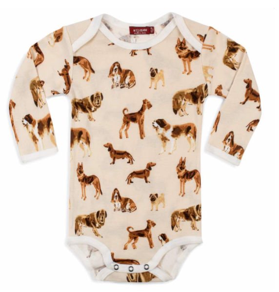 Milkbarn: Long Sleeve Onesie - natural dog
